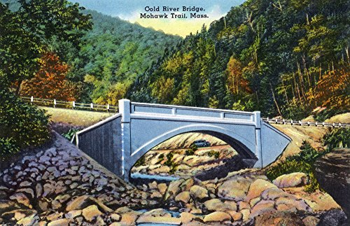 Berkshire Mountains, MA - Mohawk Trail View of Cold River Bridge (12x18 SIGNED Print Master Art Print w/Certificate of Authenticity - Wall Decor Travel Poster)