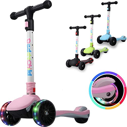 DaddyChild Folding Kick Scooter for Kids, 3-Wheel LED Flashing Glider Push Scooter with Height Adjustable and Foldable Handlebar, Anti-Slip Wide Deck for Boys Girls 3-12