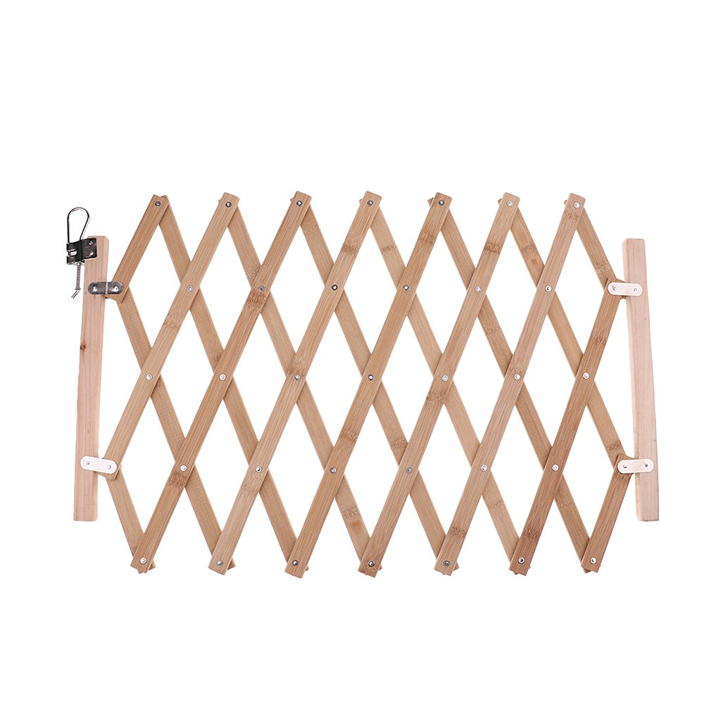 LOVIVER Safety Fence Pet Protection Wood Door Expansion Safety Folding Gate