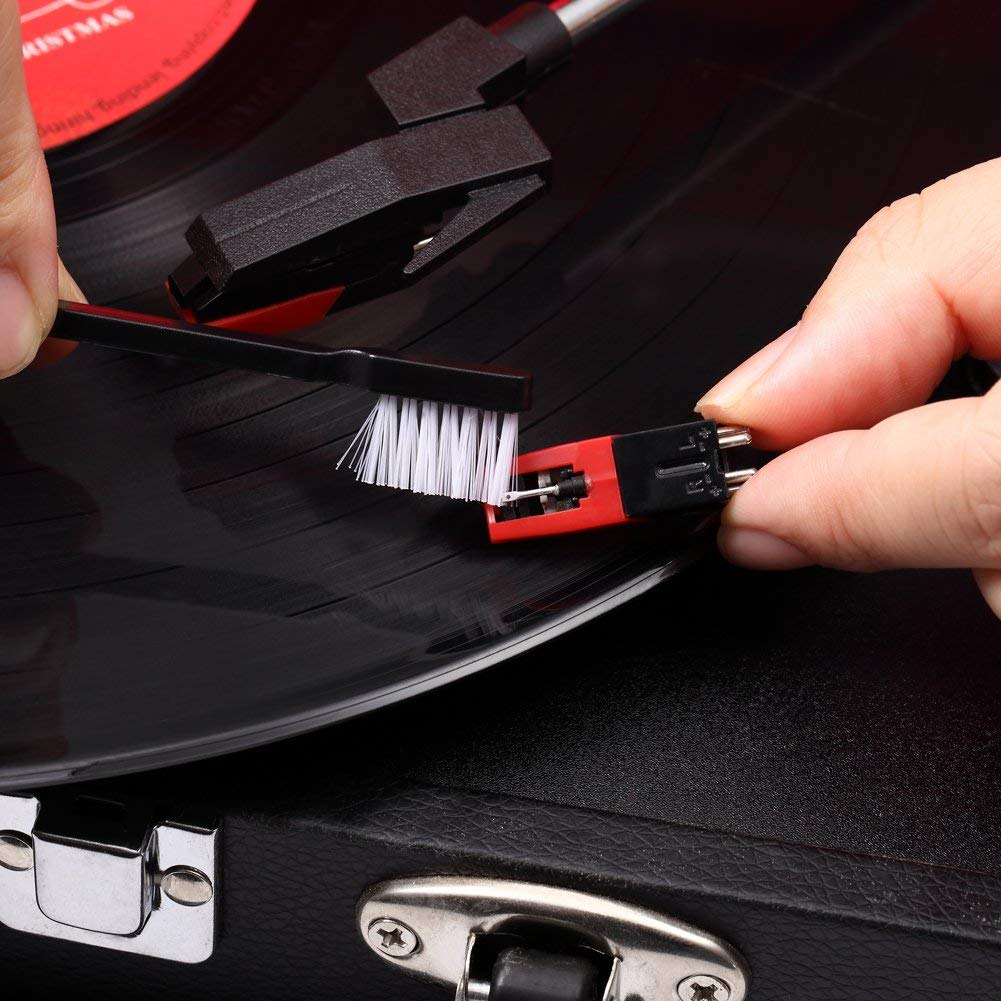Nadelb/ürste Hossom Schallplatten Samtreiniger Soft Brush Antistatik Schallplattenb/ürste mit Samtpolster inkl