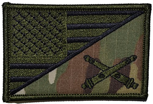 Field Artillery Cannoneer USA Flag 2.25 x 3.5 inch Morale Patch - Multicam / OCP
