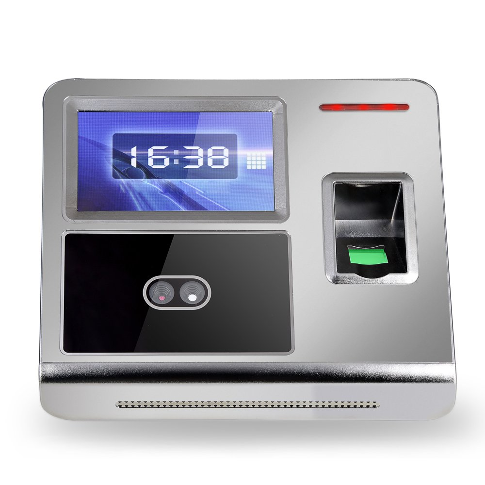 KKmoon Face Fingerprint Password Attendance Machine Employee Checking-in Payroll Recorder TCP/IP 4.3 inch HVGA Screen DC 12V Facial Recognition Time Attendance Clock