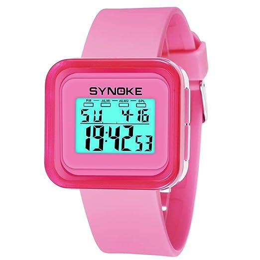 Deporte Muñeca Relojes Digitales LED Tecnología para Niños Niñas estudiante pulsera impermeable (Rosa): Amazon.es: Relojes