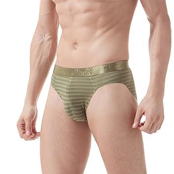 Hombres Sexy Slips Ropa Interior Seda De Hielo Sin Costura Respirable Calzoncillos Paquete De 2,