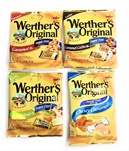 Werther's Sugar Free Hard and Chewy Candy| 4 Different Flavors| 1 each of Caramel, Caramel Coffee, Caramel Apple and Chewy Caramel| Bundle of 4 Bags (1.46 ounces each)