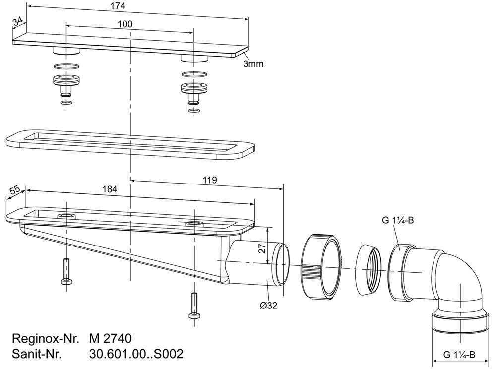 Ablaufgarnitur M2740 für Reginox Aqua Line WAVE Ablaufverbindung Ersatzteil