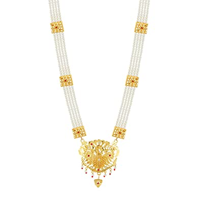 Buy GoldNera Traditional Gold Plated Long Brass Haram Necklace w