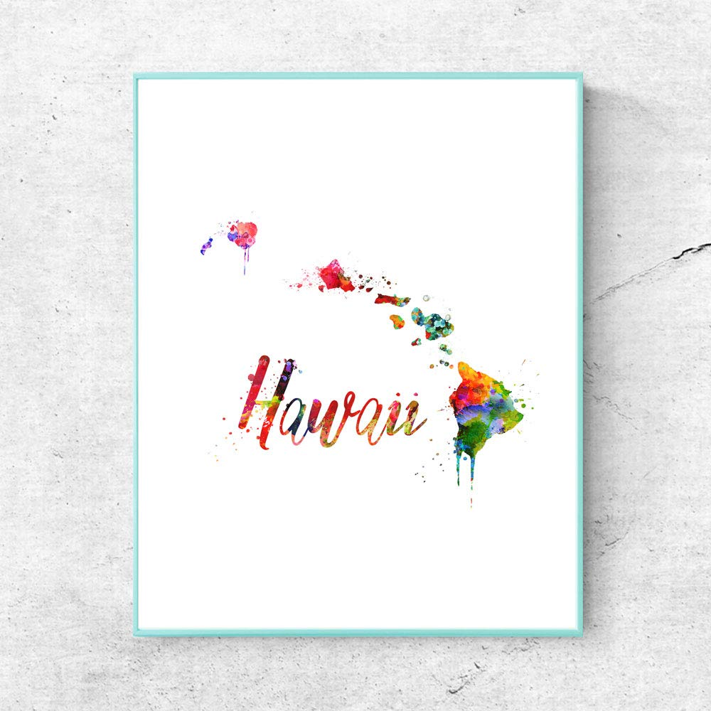 Hawaii Map Watercolor Art Print Home Decor USA Map Wall Art Hawaii City Poster Painting Country Poster Pictures 8x10inch No Frame