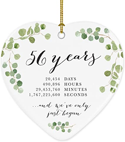Amazon Com Andaz Press Heart Porcelain Ceramic 56th Wedding Anniversary Christmas Tree Ornament Gift 56 Years 20454 Days 490896 Hours 29453760 Minutes 1767225600 Seconds 1 Pack Inc Gift Box Kitchen Dining