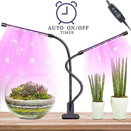 Led Grow Light-grow led de interior con encendido / apagado automático 8 niveles regulables, 40LEDs con doble cabezal led lámpara plantas, 360 grados ...