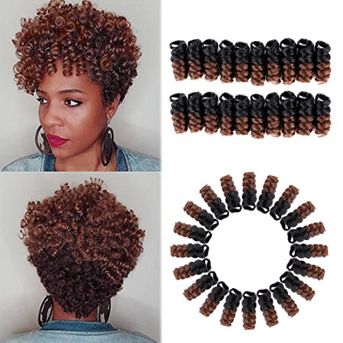 HairPhocas 5 Packs Synthetic Saniya Curly Crochet Hair 10 inch 20roots/pack for Crochet Braids Hair(Black to Brown) (Cute Updo Hairstyles For Short Curly Hair)