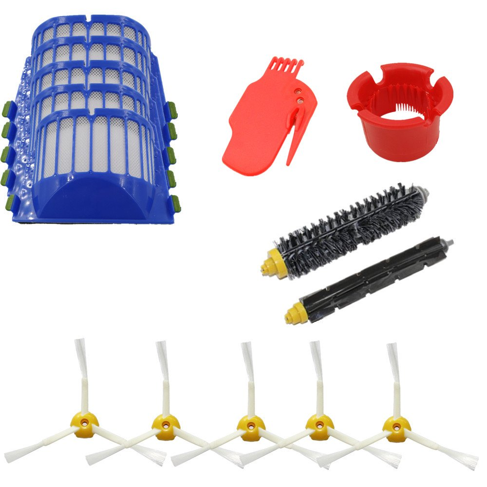 LOVE(TM) Bristle & Flexible Beater Brush 3-Armed Aero Vac Filters kit for Robot 600&700Series 620 630 650 660