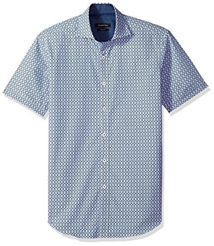 Bugatchi Men's Shaped Circular Dot Spread Collar Short Sleeve Shirt, Navy, L