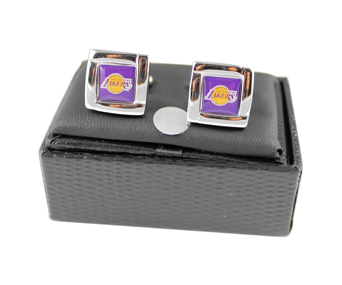 NBA Los Angeles Lakers Sports Team Logo Square Cufflinks Gift Box Set