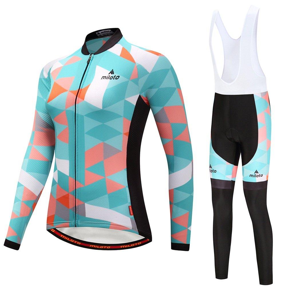 Uriah Women's Cycling Jersey Bib Pants White Sets Long Sleeve Reflective Space Blue Size M(CN) by Uriah