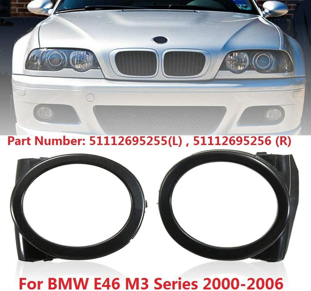 L MACHSWON 2 PCS Fog Lamp Ring Cover Trim Surroundings for BM-W M3 E46 2695255 Left /& Right Front Bumber 51112695255 Fog Light Covers 51112695256 R