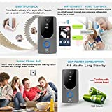 WiFi Wireless Video Doorbell Smart Door Bell 720P HD WiFi Security Camera with 8G Memory Storage and Chime, Two-Way Talk and Real-Time Video, Voice Wave Connection, Wide Dynamic Range, Night Vision
