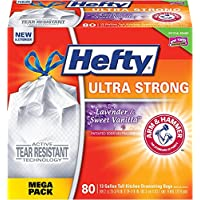 Hefty Ultra Strong Trash Bags (Lavender Sweet Vanilla, Tall Kitchen Drawstring, 13 Gallon, 80 Count) – Fits All Simplehuman Size J Cans