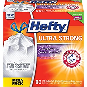 Hefty Ultra Strong Trash/Garbage Bags (Lavender Sweet Vanilla, Odor Control, Kitchen Drawstring, 13 Gallon, 80 Count)