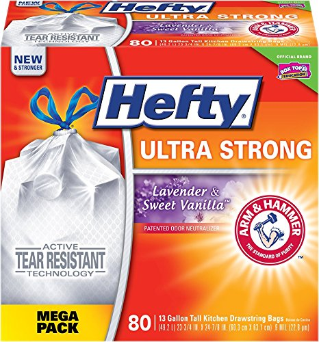 Hefty Ultra Strong Trash Bags (Lavender Sweet Vanilla, Tall Kitchen Drawstring, 13 Gallon, 80 - Cans Empty