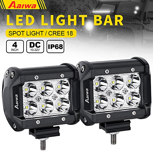 LED Light Bar, Aaiwa 2PCS 4Inch 18W LED Pods Spot Beam Driving Fog Light Off Road Lights for Off-road, Truck, Car, ATV, SUV, Jeep,5 Years Warranty