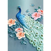 5D Full Diamond Painting Amazing Peacock, DIY Crystal Diamond Embroidery Painting by Number Kits for Home Wall Decor 11.8 x 15.7 inch