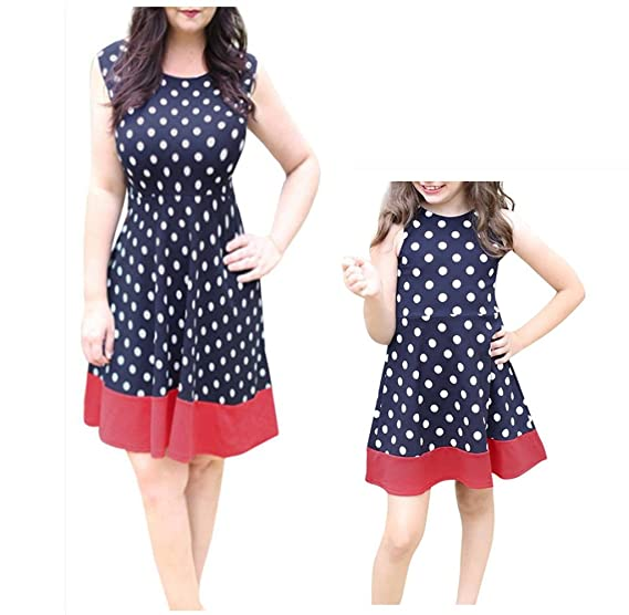 ff9cabda42f Franterd Family Matching Clothes Mommy   Me Dot Printed Sleeveless Above  Knee Mini Dress Parent-