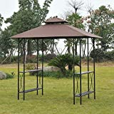 Outsunny 8' 2-Tier Outdoor BBQ Grill Gazebo w/ Bar Shelves - Coffee