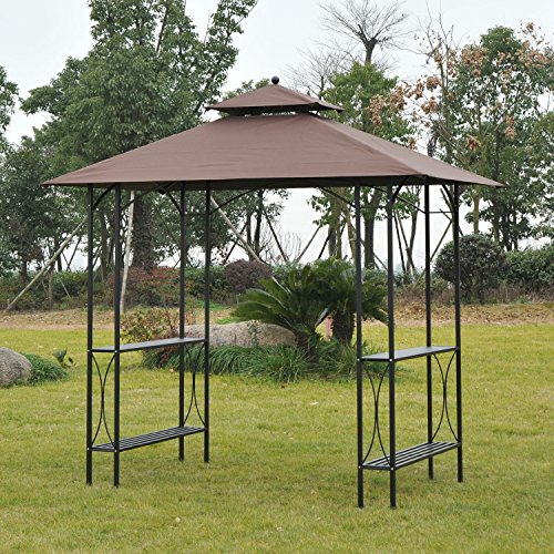 Great Bbq Pit Set Up For The Backyard Perfect Under The: Outsunny 8' 2-Tier Outdoor BBQ Grill Gazebo W/ Bar Shelves