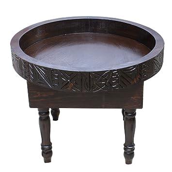 Table Basse Marocaine Ronde Avec Bordure Style Berbère Gravé Et