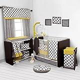 Bacati Dots/Pinstripes Grey/Yellow 10 Piece Crib Set Including Bumper Pad