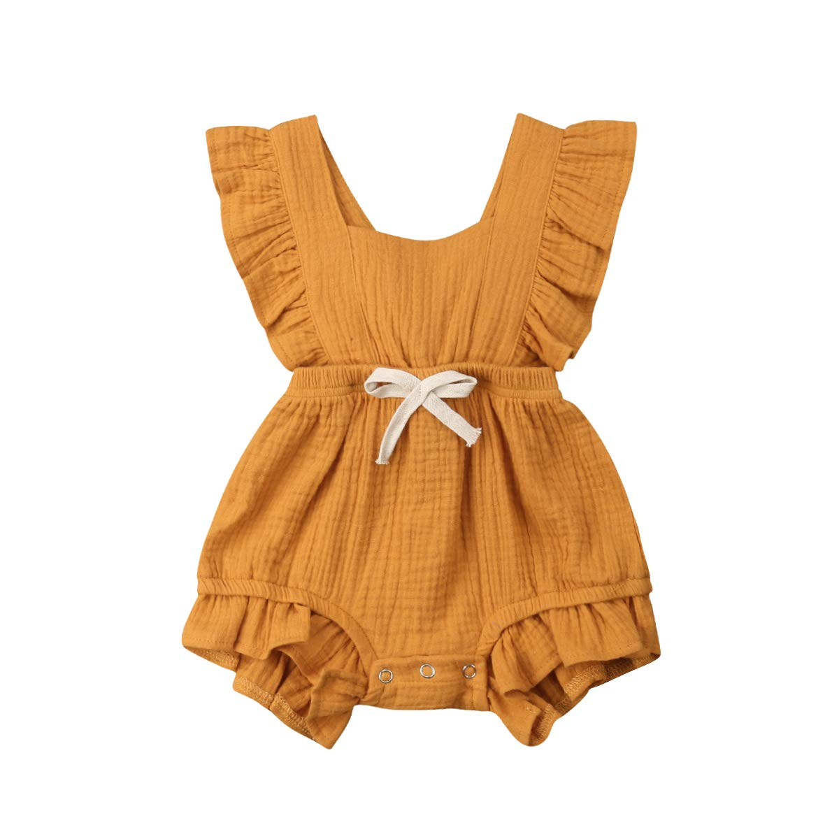 ITFABS Newborn Baby Girl Romper Bodysuits Cotton Flutter Sleeve One-Piece Romper Outfits Clothes (Orange 2, 18-24 Months)