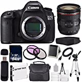 Canon EOS 5DS R DSLR Camera (International Model No Warranty) 0582C002 + Canon EF 24-70mm f/4L IS USM Lens + LP-E6 Battery + 64GB SDXC Class 10 Memory Card Bundle
