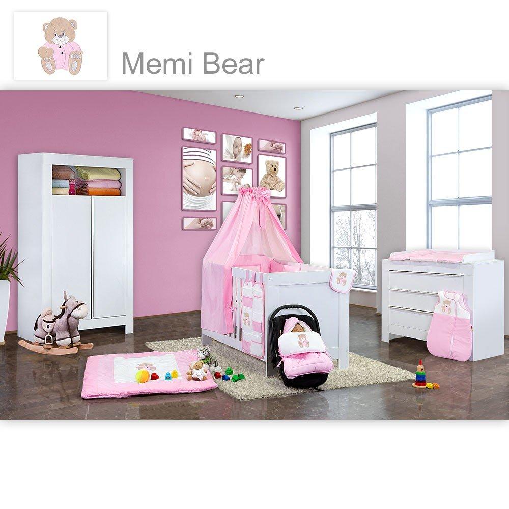 Babyzimmer Felix in weiss 21 tlg. mit 2 türigem Kl + Memi Bear in Rosa