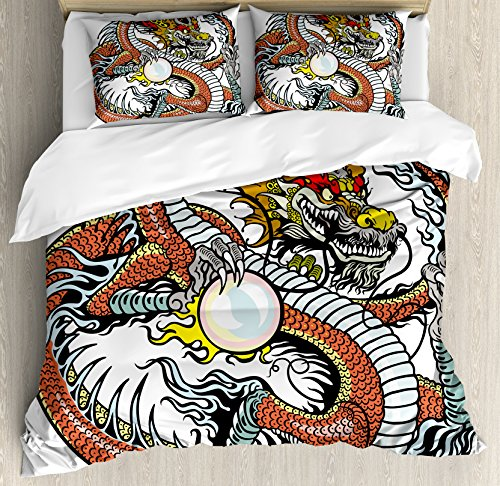 et Cover Set Queen Size, Traditional Chinese Creature Holding A Large Pearl Zodiac Signs Folk Tattoo Graphic, Decorative 3 Piece Bedding Set with 2 Pillow Shams, Multicolor ()