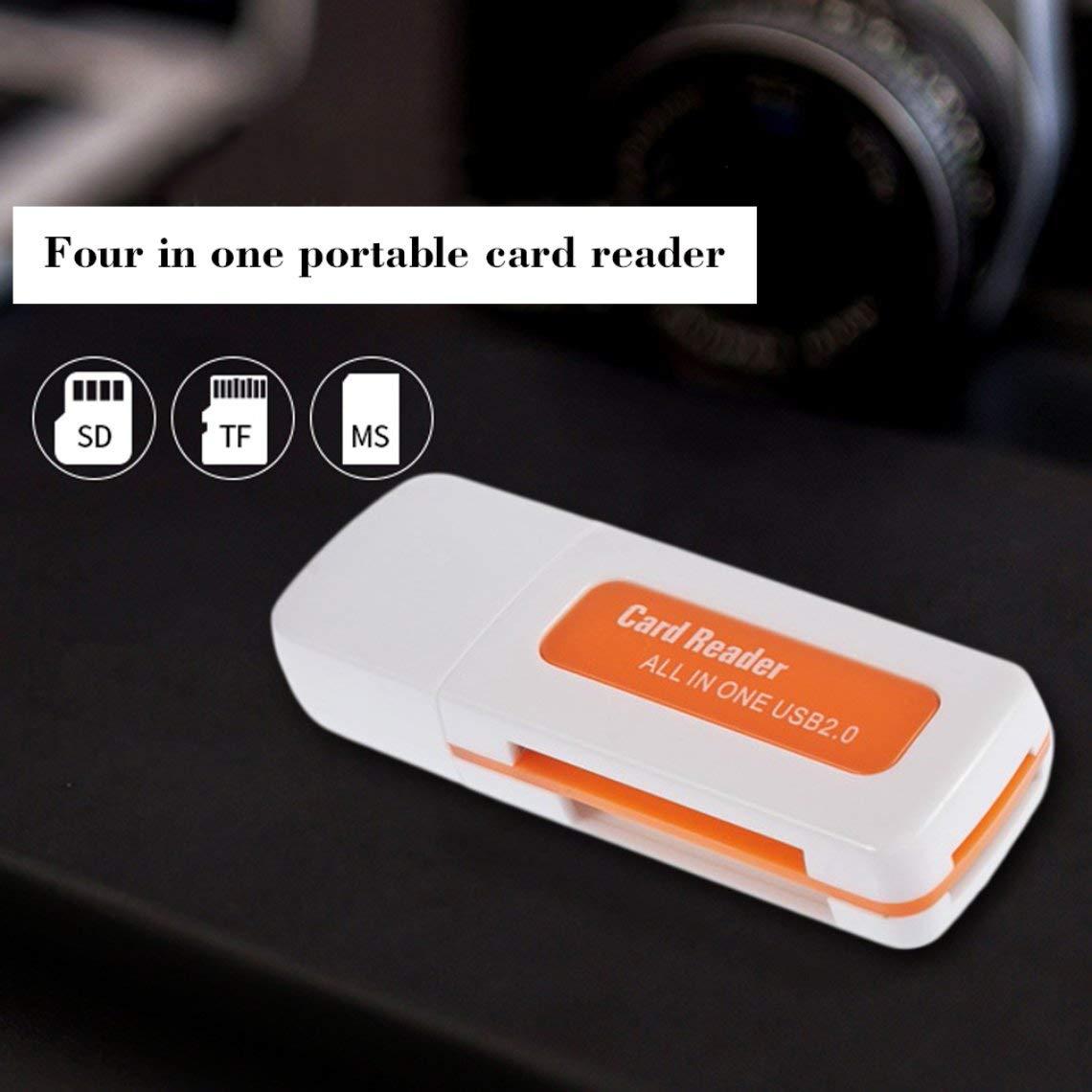 Zinniaya Protable USB 2.0 Lecteur de Carte Multi m/émoire 4 en 1 pour M2 pour SD pour SDHC DV Micro pour Carte Secure Digital TF