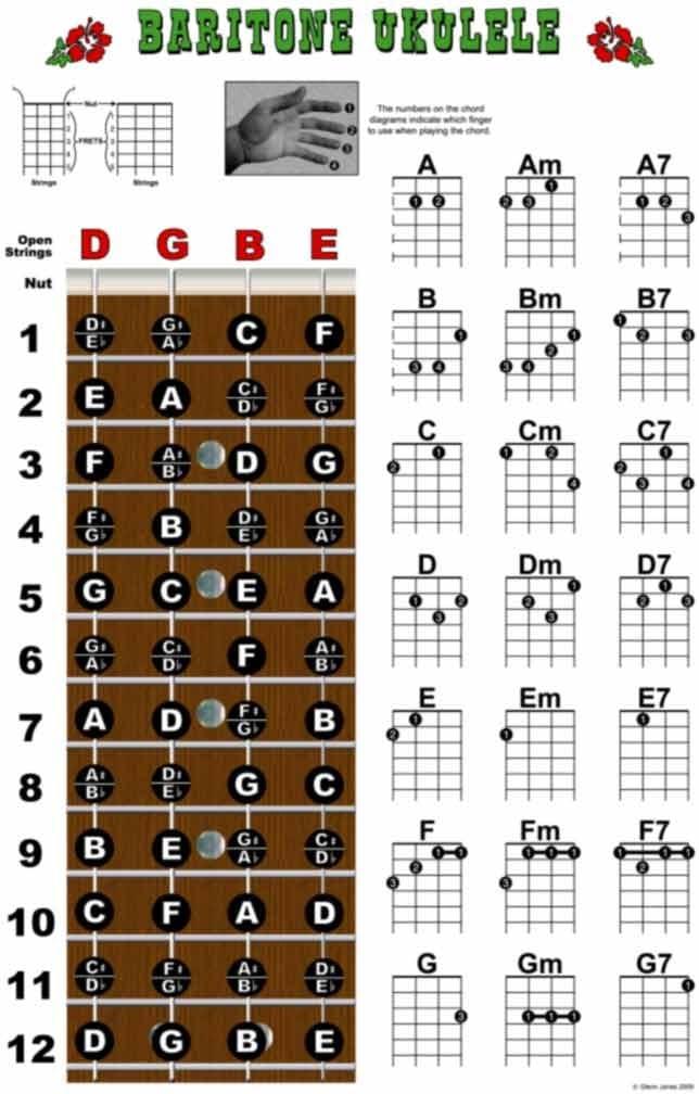 Barítono ukelele diapasón y Chord Chart Póster de instrucciones ...
