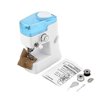 Máquina de coser multifuncional profesional mini FHSM-988 Máquina de coser eléctrica con costura ligera LED Overlock a mano - blanco y azul: Amazon.es: ...