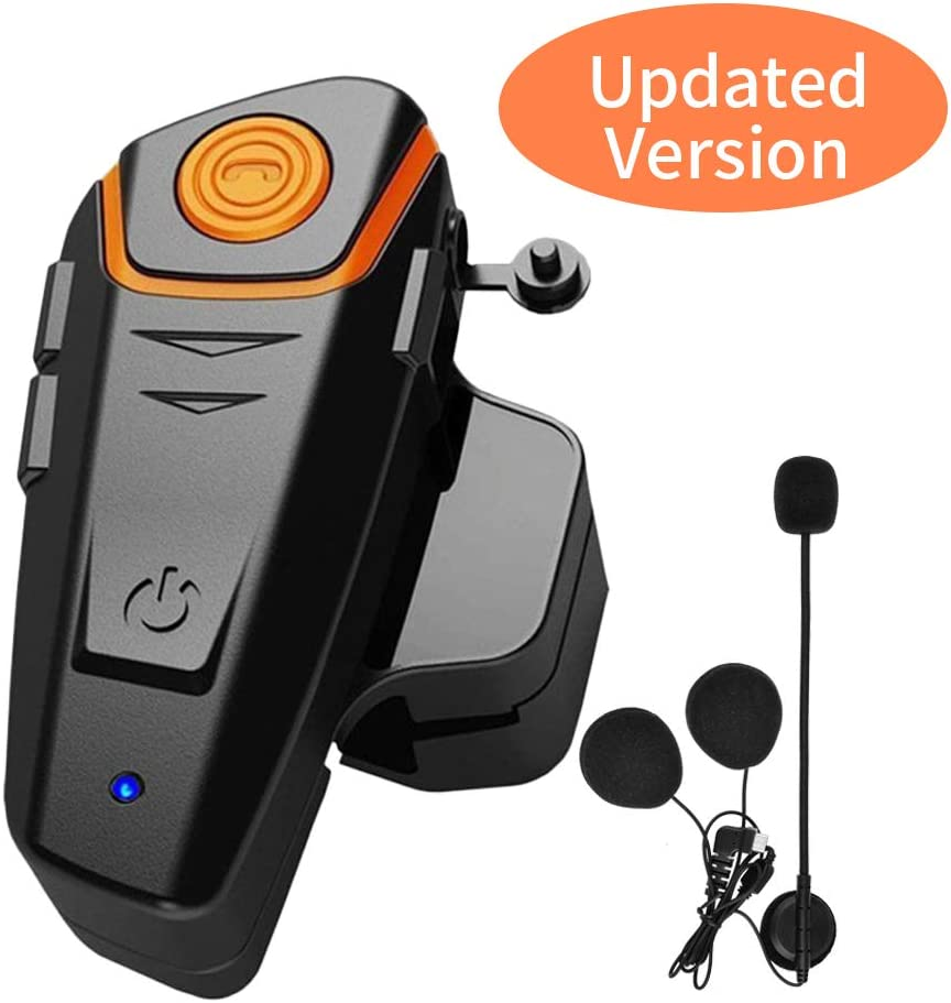 HuanGou Motorcycle Bluetooth Headset, BT-S2 Motorbike Helmet Intercom up to 3 Riders 1000M Helmet Communication System Supports Handsfree/Stereo Music/FM/GPS/ MP3 (Boom Microphone,Single)