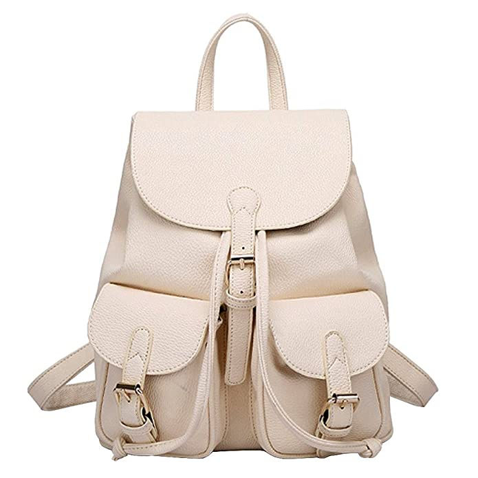 Amazon.com: Sugawin Girls Fashion Lovely Soft Leather Backpack Schoolbag Shoulder Bag - Beige: Shoes