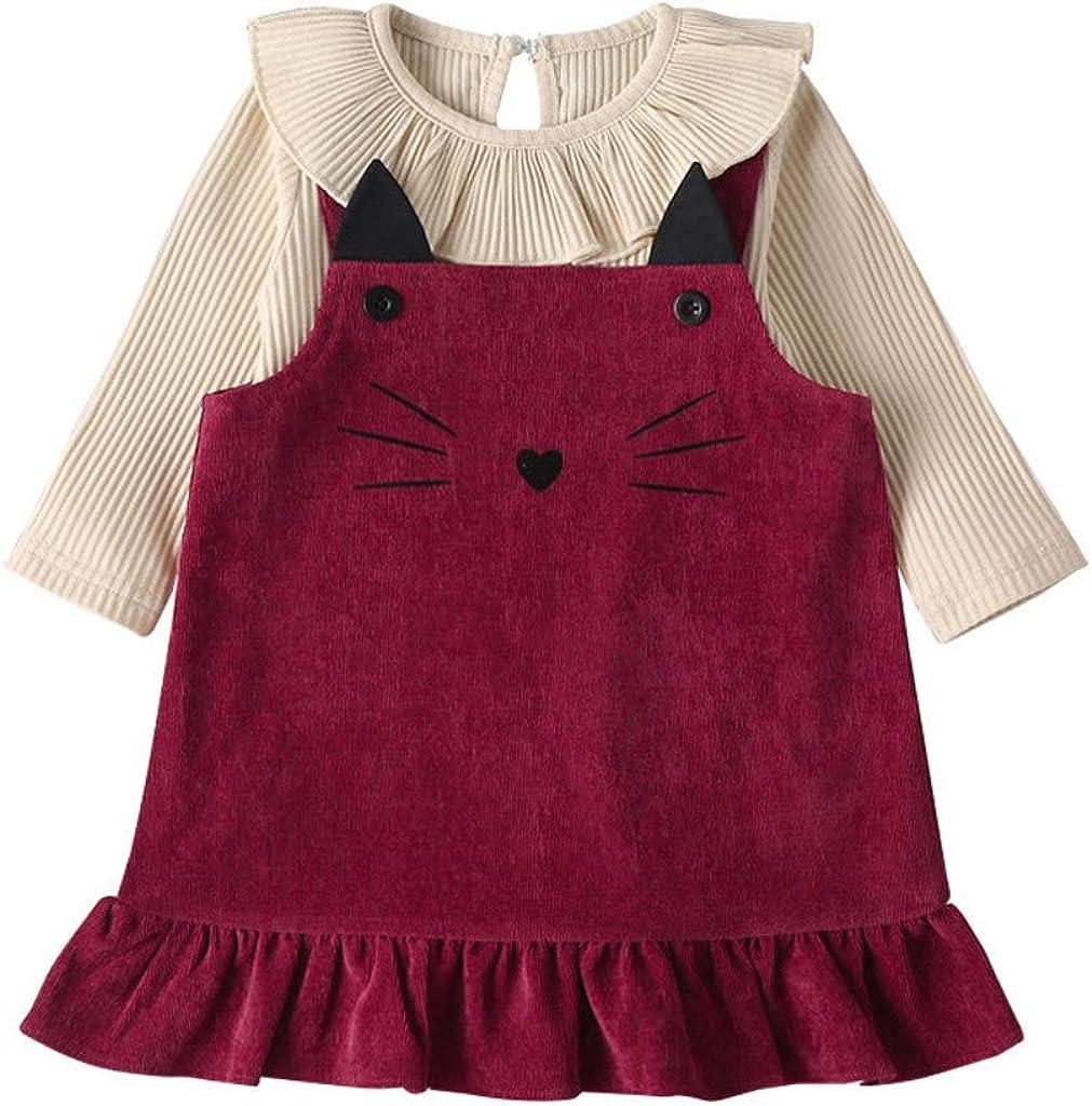 Sayla Baby M/ädchen Spitze Einfarbig Pit Tops Strampler Spielanzug Furz Kleidung Cat Drucken Cord Rock Anzug(3-24 Monate)