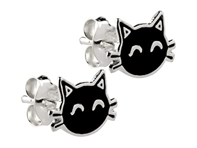 Blue Eyed Kitty Cat Enamel Stud Earrings with Shiny Crystals (Supplied in a Gift Pouch) exa3SRxa