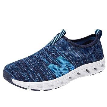 WWricotta Zapatillas de Correr Tejiendo Malla Rejilla Hombre Casual Cómodas Calzado para Andar Deporte Zapatos de Viaje Planos Bambas de Running Deportivas ...