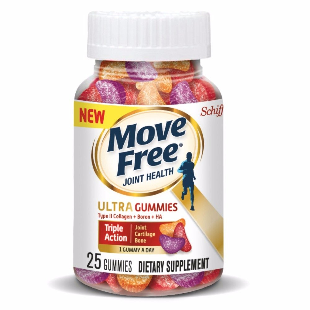 Move Free Ultra Triple Action Gummies, 25 count - Joint Health Supplement with Type II Collagen, Boron and Hyaluronic Acid (Pack of 10)