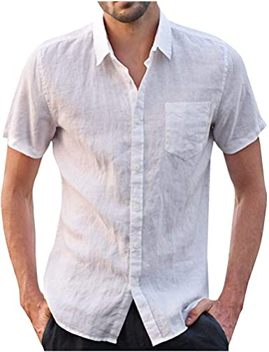 Camisa con Botones Camisa De Lino con Solapa para Hombres Ropa de Fiesta Camiseta Blusa para