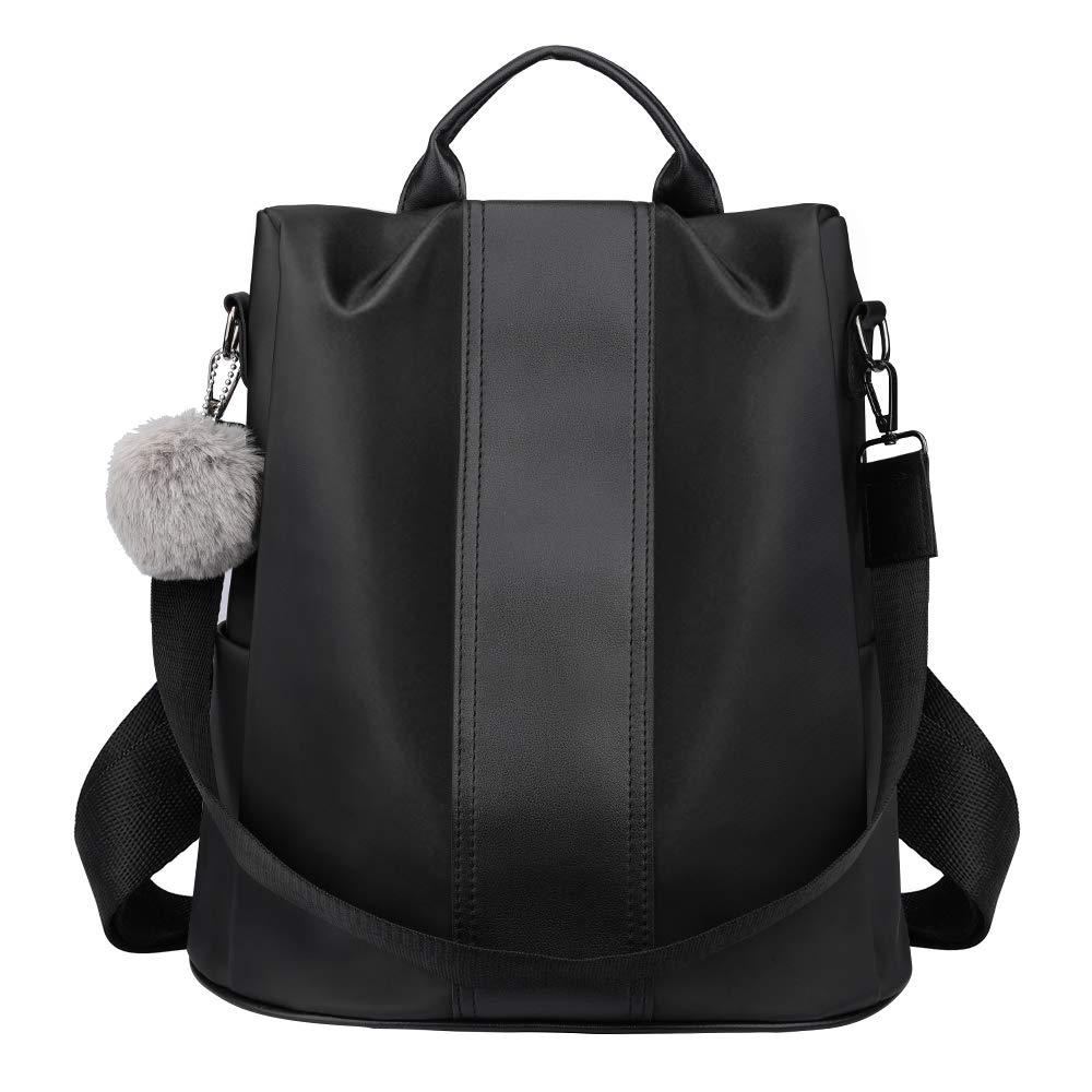 fac3f71f20bb SAMSHOWME Women Basic PU Leather Stylish Backpack Purse Waterproof Nylon  Anti-Theft Rucksack Lightweight School Shoulder Bag: Amazon.co.uk: Luggage