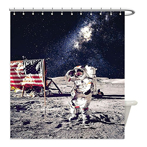Dog Spaceman Costume (Liguo88 Custom Waterproof Bathroom Shower Curtain Polyester Outer Space Decor American Spaceman on Moon Future Solar Discovery in Deep Technology View Blue Grey Decorative bathroom)