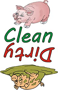 Clean Pig, Dirty Pig, Dishwasher Magnet 2 x 3 Fridge Photo Magnet