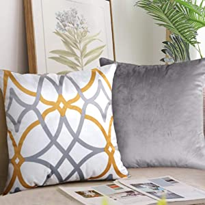 H.VERSAILTEX Original Velvet Cushion Covers 26x26 Mix and Match (Set of 2) Decorative Throw Pillow Covers for Living Room/Sofa/Couch Bed (Grey/Grey&Mustard)