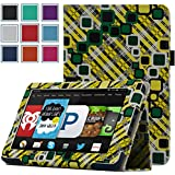 Kindle Fire 1st & 2nd Generation Cover Case - HOTCOOL Slim New PU Leather Case For Amazon Original Kindle Fire 2011 (Previous Generation - 1st) And Kindle Fire 2012 (Previous Generation - 2nd) Tablet(Will not fit HD or HDX models), Grid Lemon
